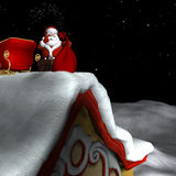 Santa Going Down Chimney 1. Santa using Magic to go down a Chimney with his Bag of Gifts Stock Images
