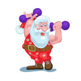 Santa is going to carry gifts, plays sports. Royalty Free Stock Photography