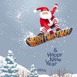 Santa grabs. `Merry Christmas and Happy New year`,  vector Christmas card for snowboarders - Santa grabs. His  snowboard  in  xmas style. For  posters, banners Royalty Free Stock Image