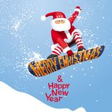 Santa grabs. `Merry Christmas and Happy New year`,  vector Christmas card for snowboarders - Santa grabs. His  snowboard  in  xmas style. For  posters, banners Stock Image