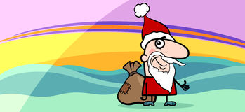 Santa greeting card cartoon illustration Royalty Free Stock Photo