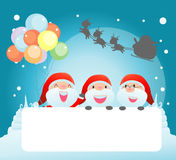Santa and greeting Christmas and New Year card, santa claus peeping behind placard. Kids in santa claus costume characters celebrate, Cute little christmas Royalty Free Stock Photos