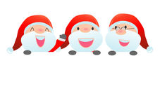 Santa and greeting Christmas and New Year card, santa claus peeping behind placard. Kids in santa claus costume characters celebrate, Cute little christmas Royalty Free Stock Photography