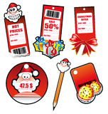 Santa Greetings Stickers for Tag and Card Royalty Free Stock Photo