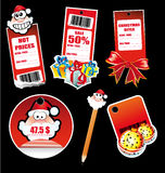 Santa Greetings Stickers for Tag and Card Stock Photos