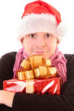 Santa guy with present Stock Image