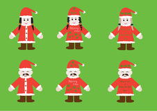 Santa guys and girls. Santa suits with different suits styles for guys and girls Stock Photography