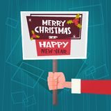 Santa Hand Hold Merry Christmas And Happy New Year Banner Poster Design Winter Holiday Greeting Card Stock Image