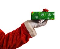 Santa hand and present Stock Images