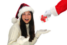Santa Handing Woman Present Royalty Free Stock Photo