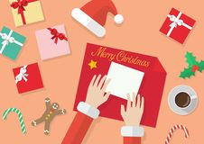 Santa hands give wrapped christmas present in paper vector illustration