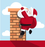 Santa hanging on the chimney royalty free illustration