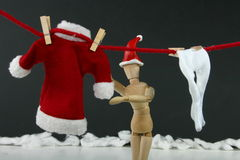 Santa Hanging Laundry Royalty Free Stock Photography