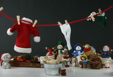 Santa Hanging Laundry and taking a bath Stock Photography