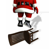 Santa Hanging from Lights Royalty Free Stock Photos