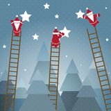 Santa Hanging Stars and Christmas Woods Stock Images