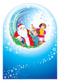 Santa happy children. Happy new year, Santa, nice children, smile, christmas, colour, colourful  fur garlands graphic green hair happiness happy holiday Stock Photo