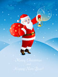 Santa. Happy Santa Claus shows by his oil lamp lighting the time approaching midnight Stock Images