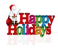 Santa happy holidays. Happy holidays words with santa claus background card Royalty Free Stock Photos