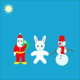 Santa with hare and snowman Stock Photography