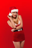 Santa has a sexy little helper Royalty Free Stock Photos