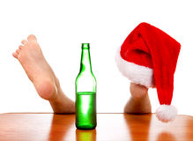 Santa Hat auf dem Bein Stockfoto
