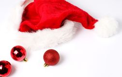 Santa hat with baubles Royalty Free Stock Photo
