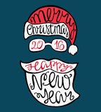 Santa, hat, beard, glasses and a letter. Santa, hat, beard, glasses and handdrawn lettering for greeting cards. Vector Christmas card Vector Illustration