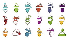 Santa hat beard icon set, color outline style. Santa hat beard icon set. Color outline set of santa hat beard vector icons for web design isolated on white Royalty Free Stock Photography