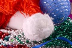 Santa hat, blue balls, christmas card, close up, Stock Image