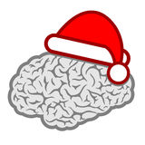 Santa hat brain icon Stock Images