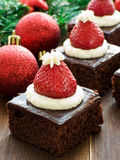 Santa hat brownies Stock Photo