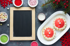 Santa hat cake modern dessert for winter holiday party - festive Royalty Free Stock Image