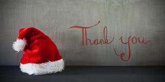Santa Hat, calligrafia vi ringrazia Immagine Stock Libera da Diritti