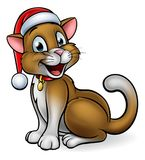 Santa Hat Christmas Cat Fotografia Stock