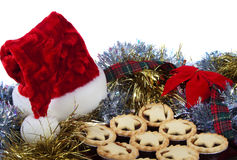 Santa Hat and Christmas Mince Tarts Royalty Free Stock Photo