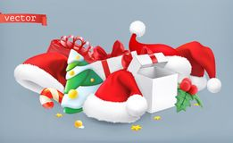 Santa hat, christmas tree and gifts. vector icon Stock Images