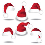 Santa hat collection isolated on white Stock Images