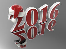 2016 Santa hat concept. 3D render illustration of an extruded 2016 new year sign on a reflective background. The number 2 has a Santa hat Vector Illustration