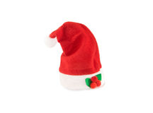 Santa hat with decoration on white. Royalty Free Stock Image
