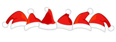 Santa hat divider. Cute Santa hats isolated on white background divider Royalty Free Stock Photography