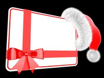 Santa hat with a gift card Royalty Free Stock Photos