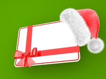 Santa hat with a gift card Stock Photo