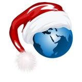 Santa hat and globe vector illustration