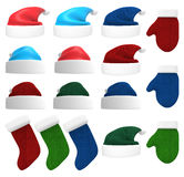 Santa Hat, Gloves and Stocking 3D Set Stock Images