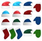 Santa Hat, Handschuhe und Versorgung des Satzes 3D Stockbilder