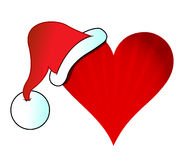 Santa hat heart illustration design Royalty Free Stock Photo