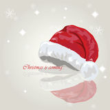 Santa hat Holiday card. Merry Christmas. Stock Images