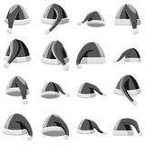 Santa hat icons set, gray monochrome style. Santa hat icons set. Gray monochrome illustration of 16 Santa hat vector icons for web Royalty Free Stock Photo