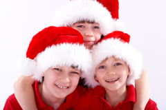 Santa hat kids Royalty Free Stock Images